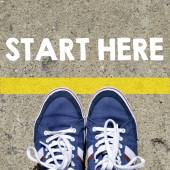 Photo Male sneakers with start here