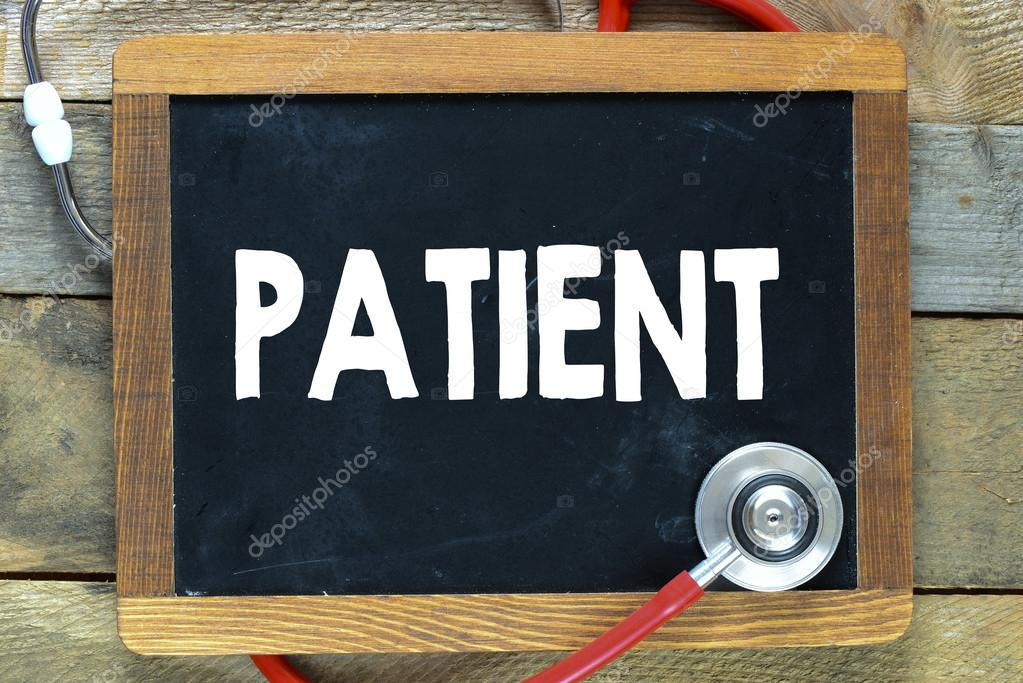 Blackboard with patient word and stethoscope — Stock Photo ...