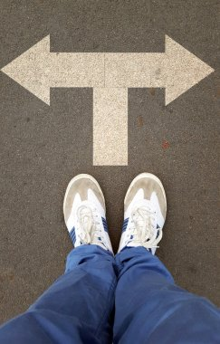 Male sneakers with drawn direction arrows