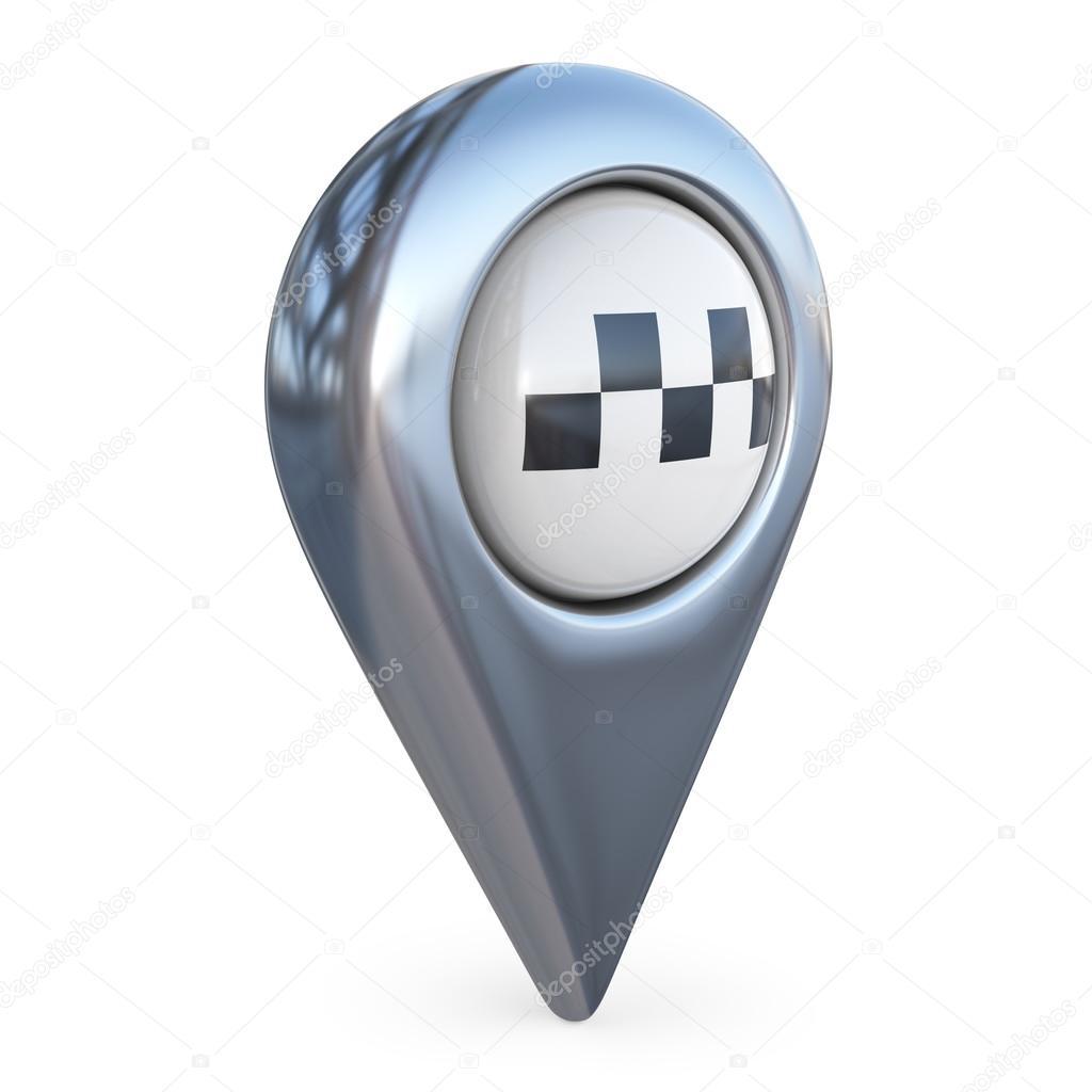 3d karta hitta taxi mål karta pekaren. GPS hitta symbol. 3D ikonen isolerade  3d karta hitta