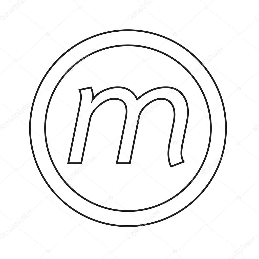 Ícone de letra m fonte básica desenho ilustração vetor de stock