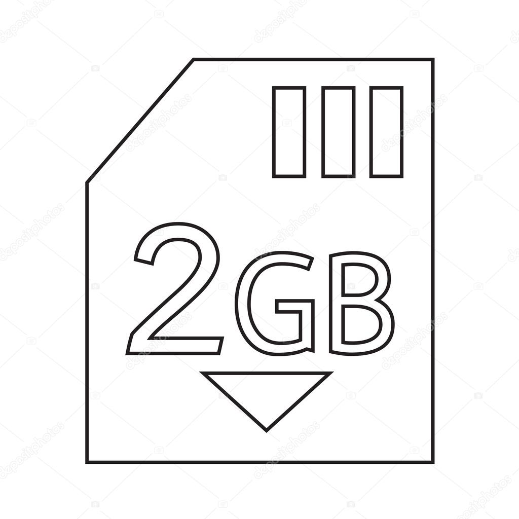 Geheugen Card 2 Gb Pictogram Afbeelding Ontwerp Stockvector