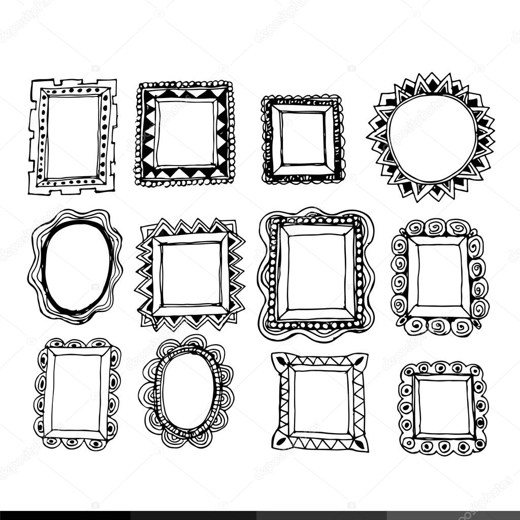 Hand zu zeichnen Rahmen Symbole — Stockvektor © porjai #117643958
