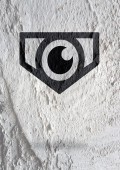 Oko ikona charakter design na cement zdi textury pozadí