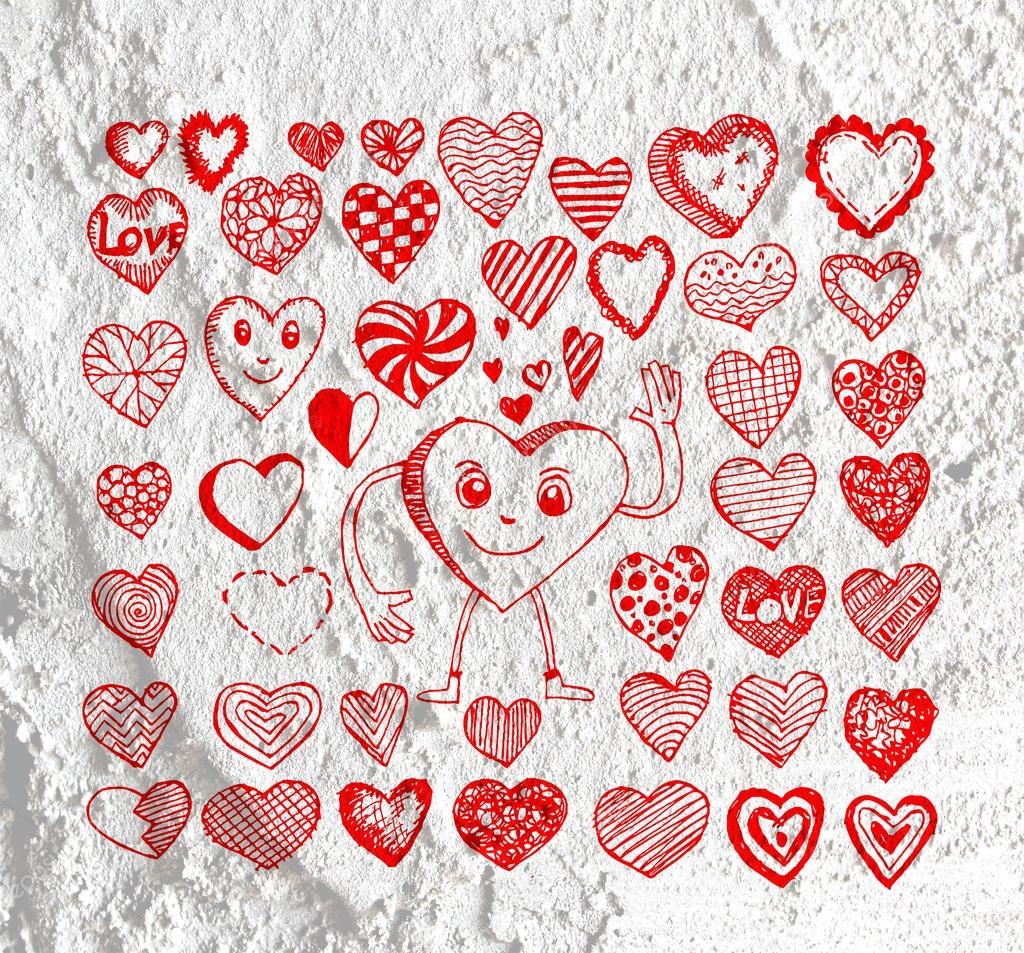 Valentinstag Herzen Fur Ihre Werke Und Herz Zeichnen Stockfoto