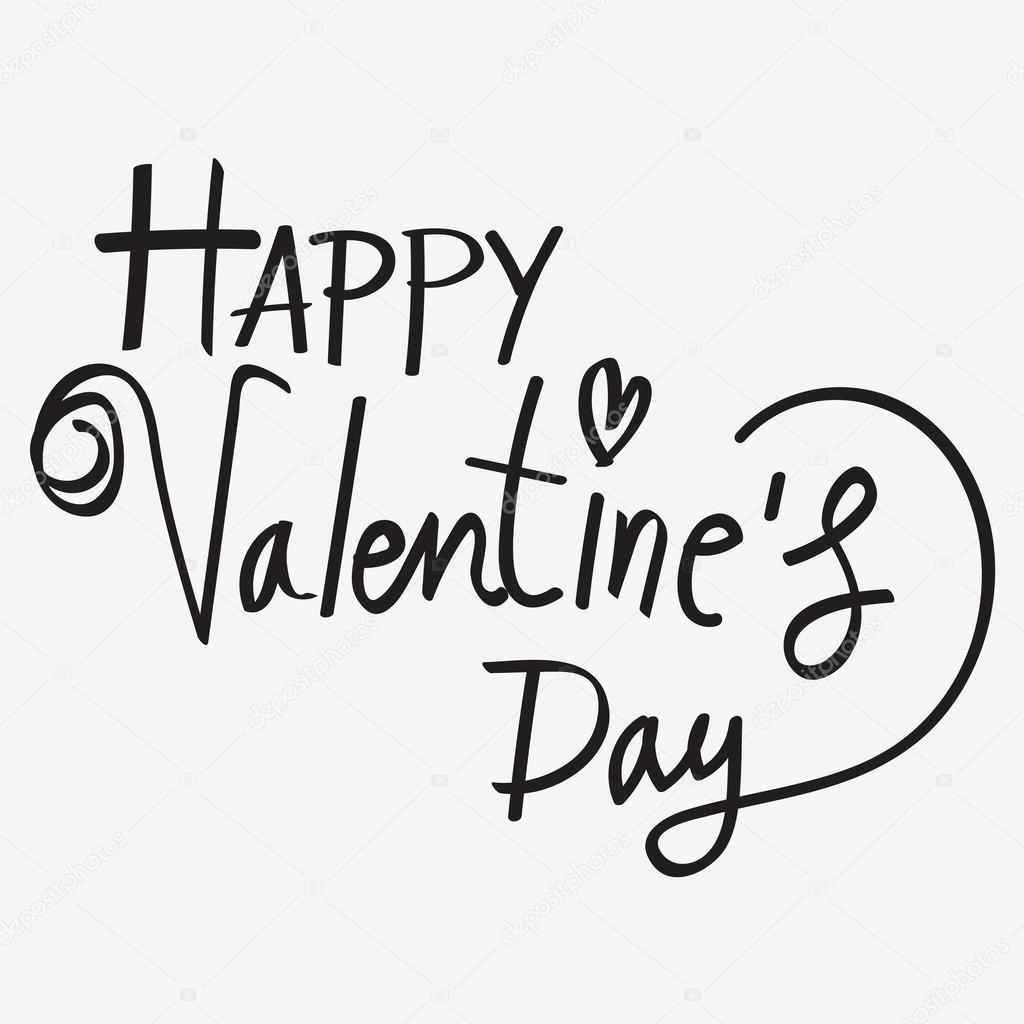 Happy Valentines Day Hand Lettering Handmade Calligraphy Stock