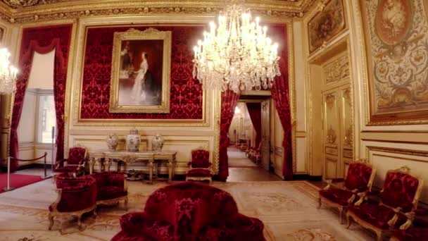 Apartments of Napoleon III in the Louvre Museum in Paris. France. Video in 4K, UHD