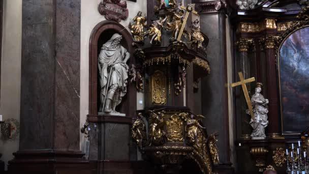 PRAGUE, CZECH REPUBLIC - SUMMER, 2015: The interiors of the temple in Prague. Czech Republic. Video in 4K, UHD