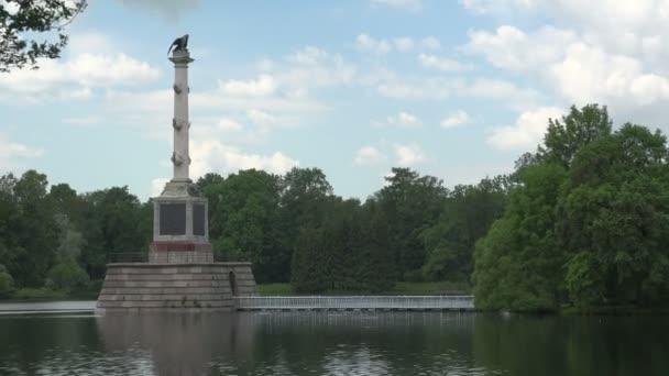 Chesme column. Pushkin. Catherine Park. Carskoye Selo. Architektura. Památky. Paláce. Video ve 4K, UHD