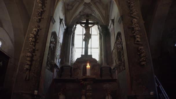 Ossuary, Kostnice, Czech Republic, Kutna Hora, Sedlec. Video in 4K, UHD. Real time.