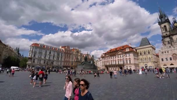 PRAGUE, CZECH REPUBLIC - SUMMER, 2015: The Old Town Square in Prague. Czech Republic. Video in 4K, UHD. Real time.