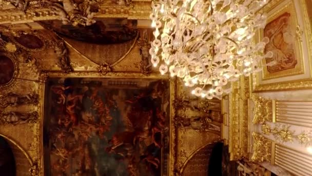 Magnificent painted ceilings in the Louvre museum in Paris. France. Video in 4K, UHD