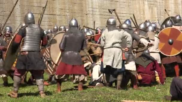 A battle. The fight of the Vikings. Medieval warriors. Video in 4K, UHD