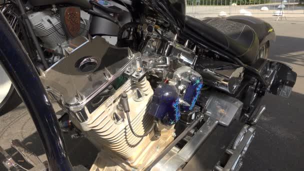 Engine Harley Davidson bike.4K.  St. Petersburg, summer 2014.