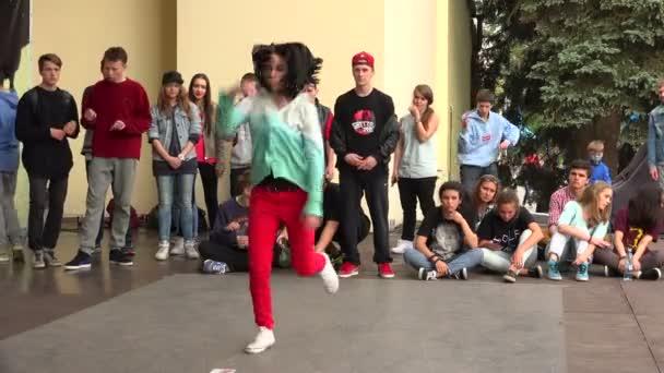 Young girl dancing break