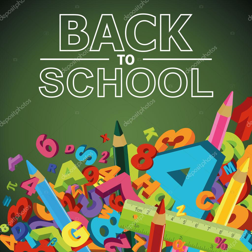 Back to school background with letters, numbers and colored penc ...