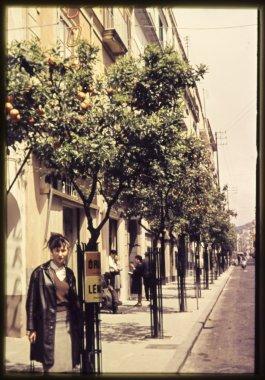 original vintage  colour slide from 1960s, woman standing in Paris street.