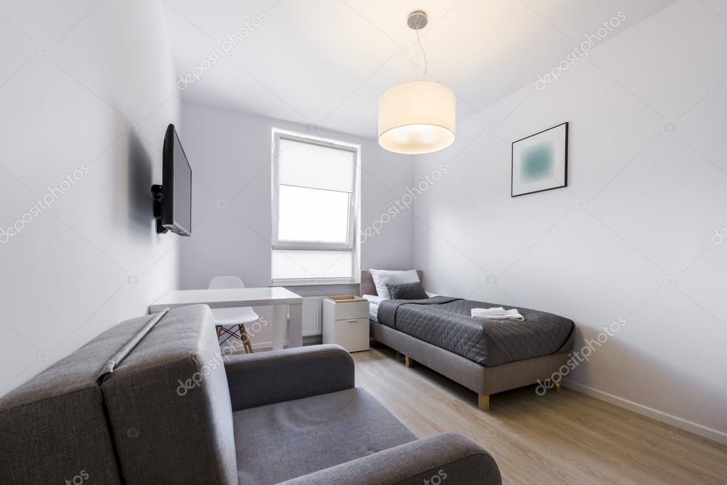 diseño moderno y pequeño durmiente cuarto interior — Foto de stock ...