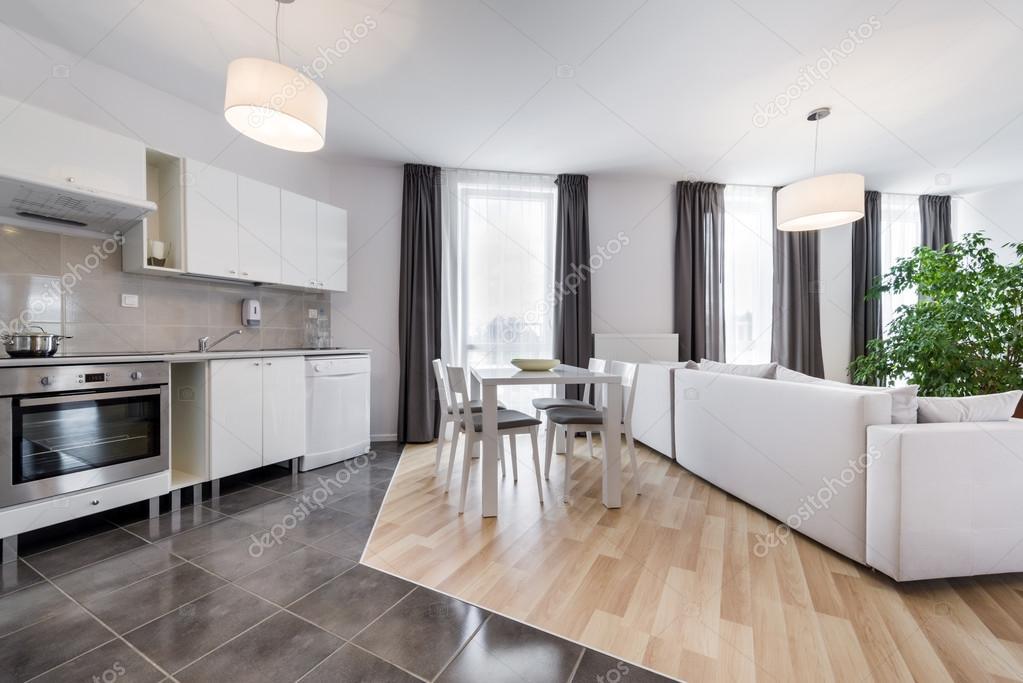 Moderne innenarchitektur wohnzimmer  Innenarchitektur Wohnzimmer mit Küche — Stockfoto #52566447