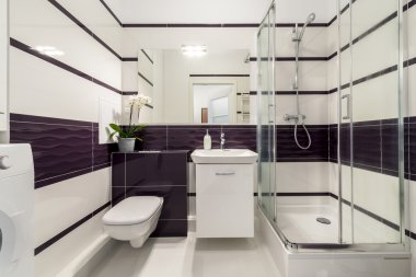 Modern bathroom with  shower cubicle