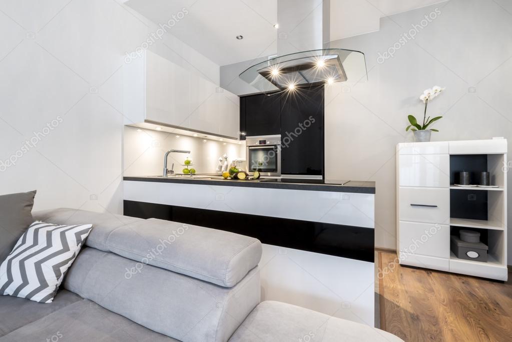 Keuken Witte Kleine : Moderne zwarte en witte kleine keuken u2014 stockfoto © jacek kadaj
