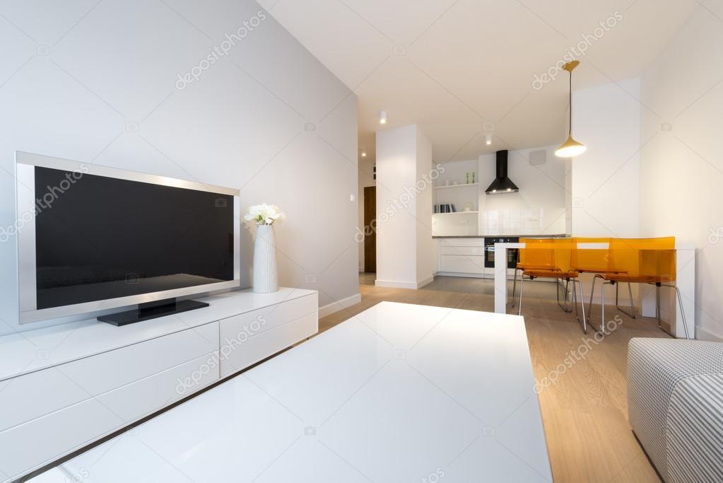 modern interieur woonkamer en keuken — Stockfoto © jacek_kadaj #93863262
