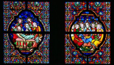 Stained Glass - Burial of Jesus and Pentecost
