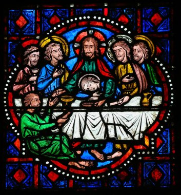 Last Supper on Maundy Thursday - Stained Glass in Tours