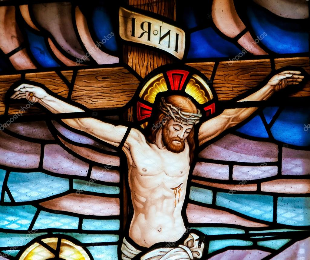 jesus on the cross stained glass u2013 stock editorial photo