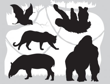 silhouettes  animals vector