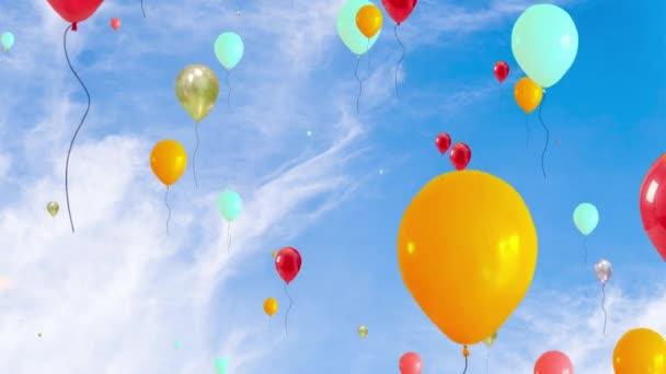 Animace skupiny barevných nafukovacích balónů proti modré obloze.