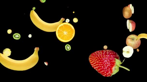 Rotating falling ripe tropical fruits. pattern on a black background. the style is minimal. cyclic animation. copy space. Change the size. presentation, form, blank
