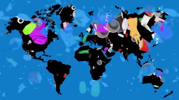 Koncepce znečištění domácností. Láhve, plast, kov padají na pozadí mapy světa. Různé odpadkové předměty. Ochrana životního prostředí. Uložit. oddělená sbírka.
