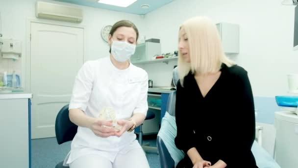Zahnärztin mit Sprechstunde im Büro Zahnärztin, die dem Patienten am Beispiel des Zahnmodells des Kiefers erklärt, wie man Zähne richtig putzt. Konzept sauberer und gesunder Zähne