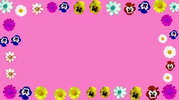 rám z různých květin na růžovém pozadí. minimalistická forma prezentace, text, firemní identita. Podpora názvu, loga, písmen. květinářství. moderní design