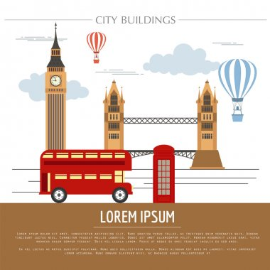 City buildings graphic template. UK. London.