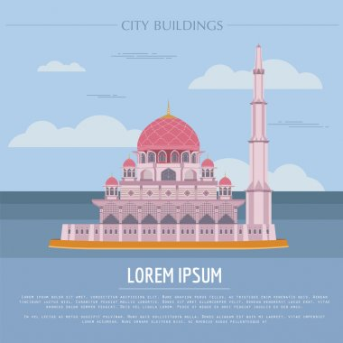 City buildings graphic template. Malaysia, Sultan Putra mosque.