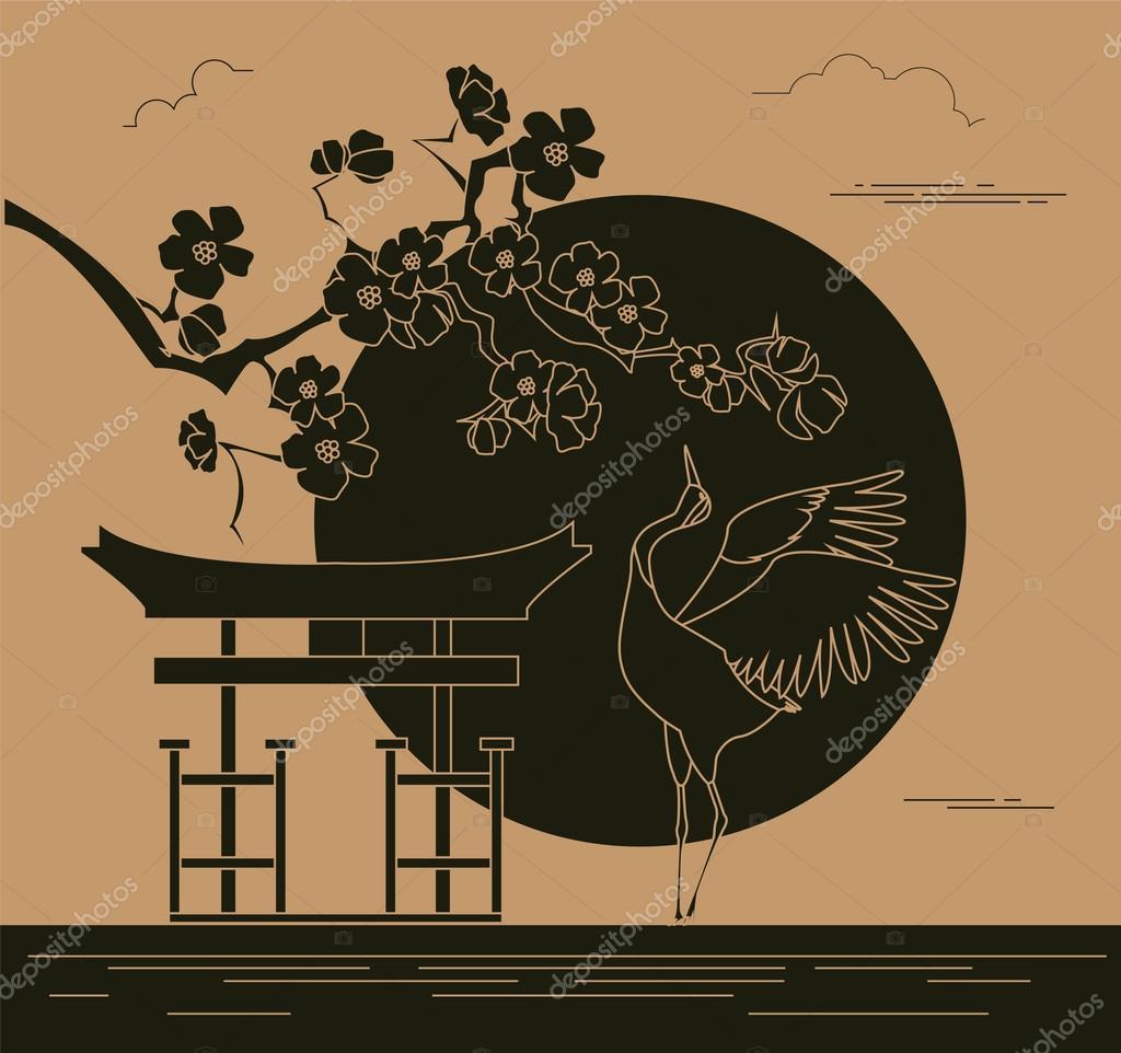 City buildings graphic template. Japanese garden. — Stock Vector ...
