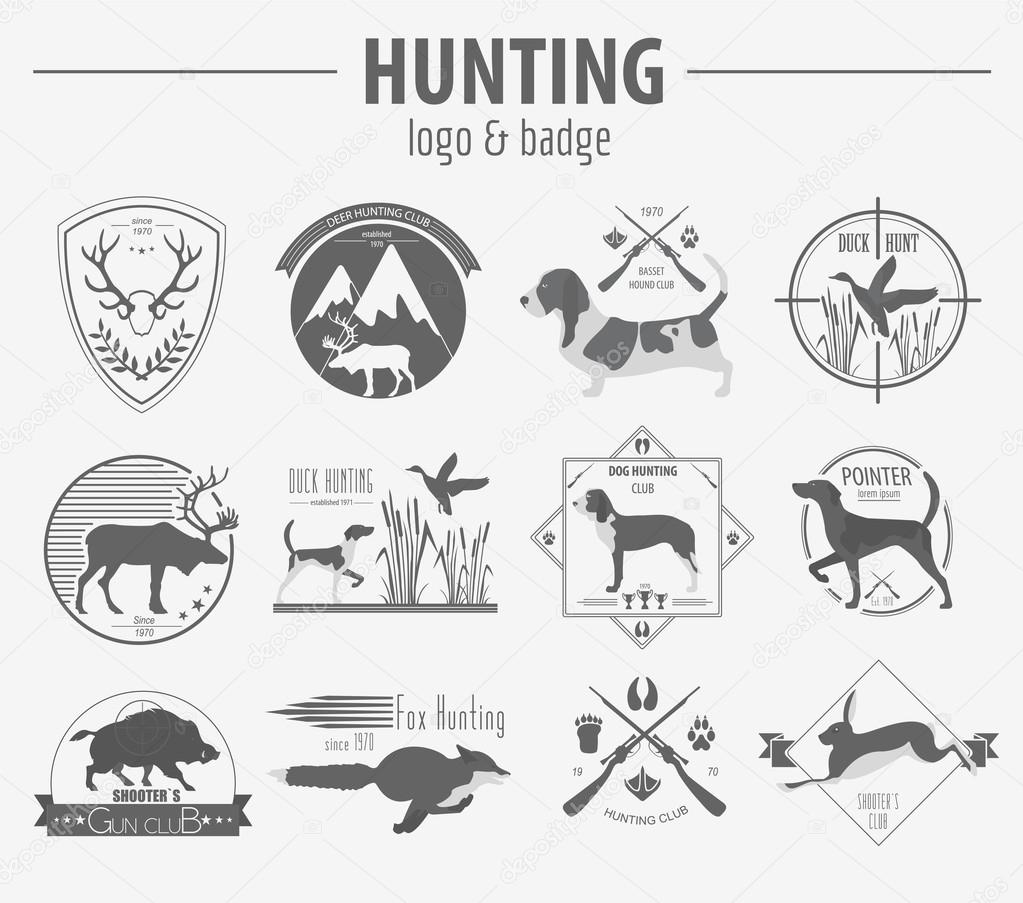 hunting logo and badge template dog hunting equipment flat d