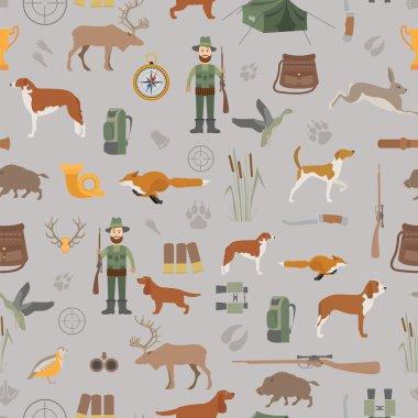 Hunting seamless pattern. Dog hunting, equipment. Flat style