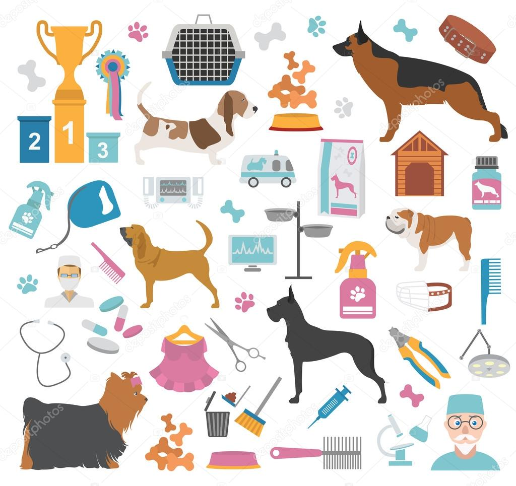 Dog Icon Set Heatlh Care Vet Nutrition Exhibition Stock Vector