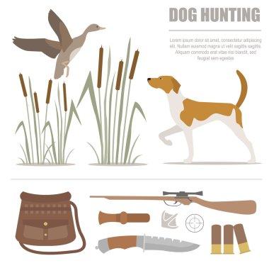 Hunting icon set. Dog hunting, equipment. Flat style