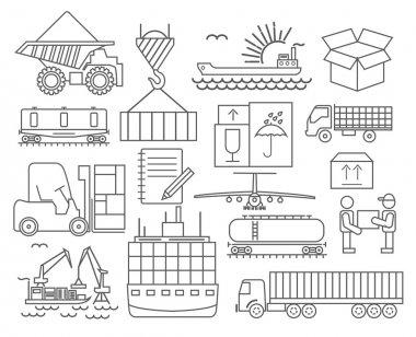 Cargo shipping deliveri icon set. Thin line design