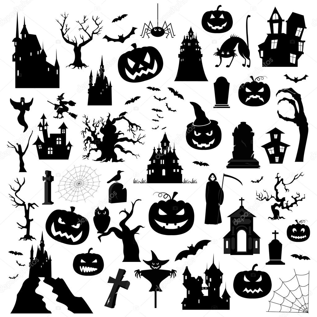 Sjabloon Halloween.Halloween Vakantie Grafische Sjabloon Plat Pictogrammen