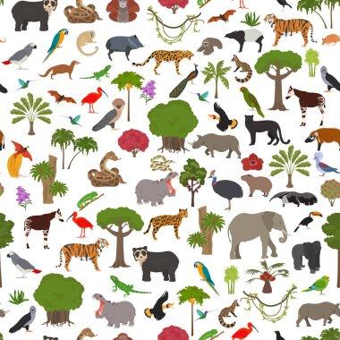 Tropical and subtropical rainforest biome, natural region seamless pattern. Amazonian, African, asian, australian rainforests. Animals, birds and vegetations ecosystem design set. Vector illustration