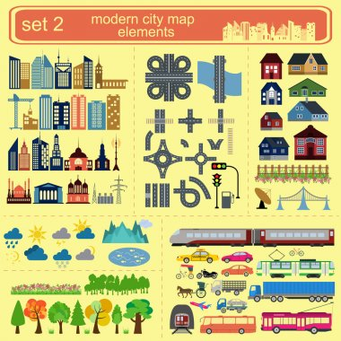 Modern city map elements for generating your own infographics, maps. Vector illustration clip art vector
