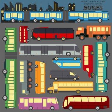 Public transportation, buses. Set elements infographics