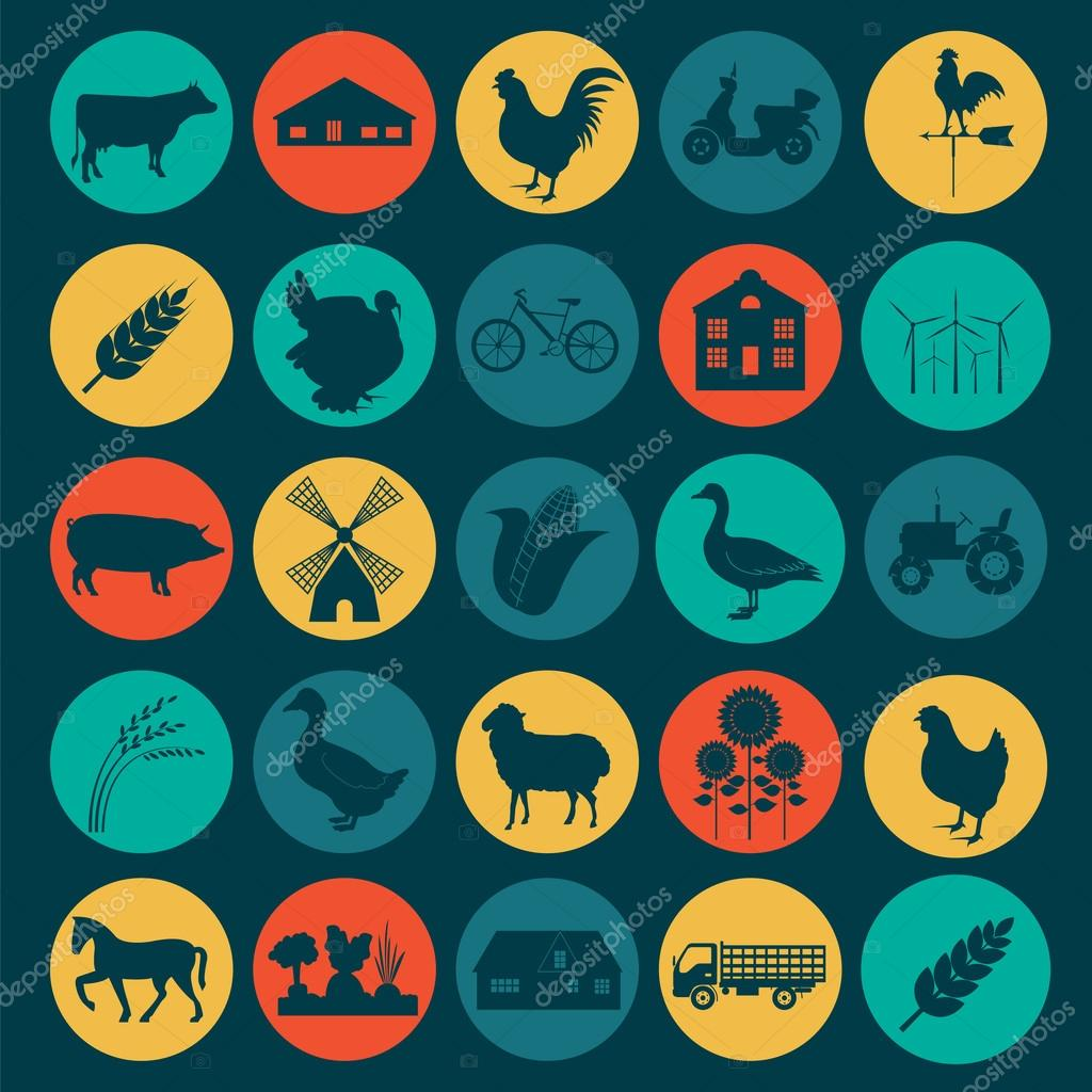Set agriculture, animal husbandry icons.