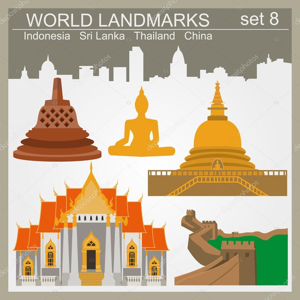 World landmarks icon set. Elements for creating infographics