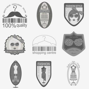 Set of vintage fashion and clothes style logos. Vector logo temp